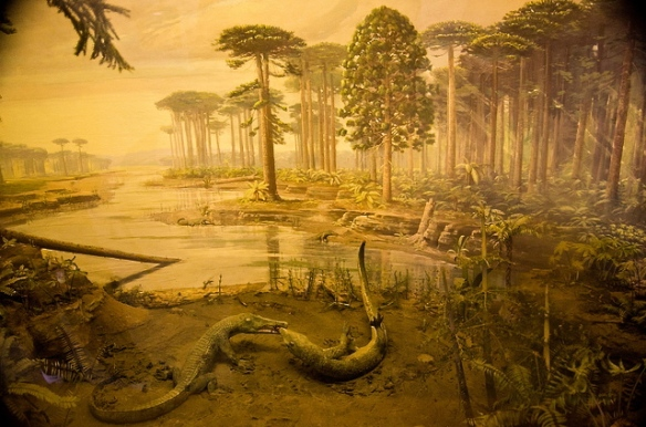 Petrified Forest National Park Rainbow Forest Museum 1930s Diorama with phytosaurs.  Photo Margaret Killjoy