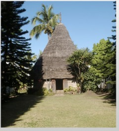 The traditional Kanak hut in the garden of the Museum of New Caledonia.  Notice the Cook pines on either side.  Photo © Musée de Nouvelle-Calédonie