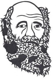 Charles Darwin cut out by Tawnya Mendonsa.  Galapagos-shaped beard full of  creatures from islands.